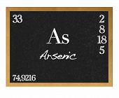 stock photo of arsenic  - Blackboard with the signs of the periodic table - JPG
