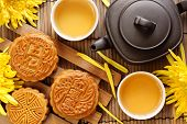 stock photo of mid autumn  - Mooncake and tea - JPG