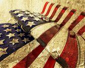 Постер, плакат: Американский флаг гранж