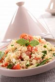 foto of tagine  - tagine with couscous and vegetables - JPG