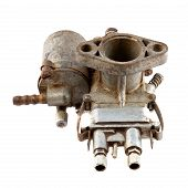 foto of carburetor  - dirty old motorcycle carburetor on a white background - JPG
