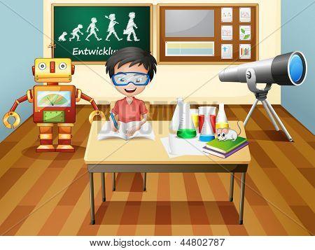 Illustration of a boy inside a science laboratory