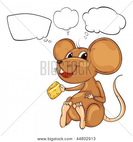 Illustration of a rat holding a cheese with empty callouts on a white background