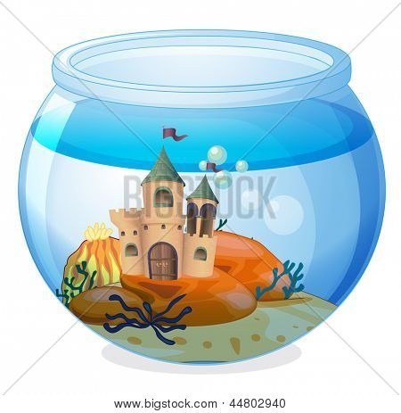 Illustration of a castle inside the aquarium on a white background