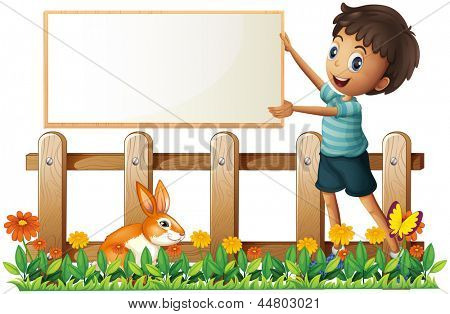 Illustration of a boy holding a framed board in the garden on a white background