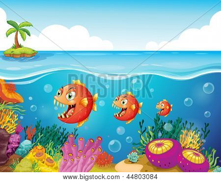 Illustration of a school of fish near the coral reefs