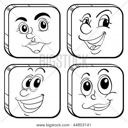 Abbildung der vier verschiedenen Arten von Quadraten auf weißem Grund