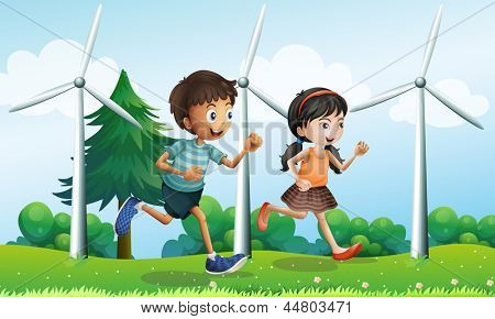 Illustration of a girl and a boy running in the hill with windmills