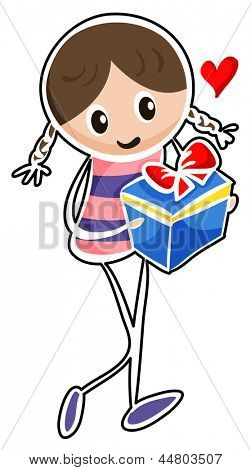 Illustration of a girl holding a blue gift box on a white background