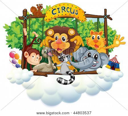 Illustration of the different animals at the circus on a white background