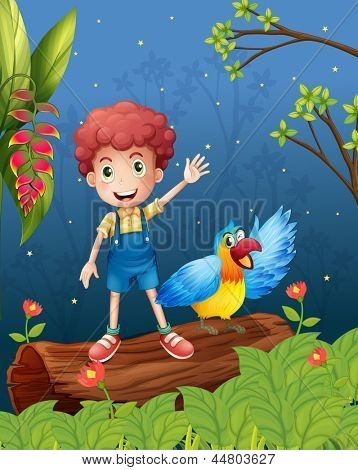 Illustration of a boy with a bird at the forest