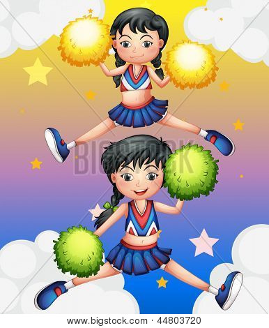 Illustration of the two cheerdancers dancing with their pom poms