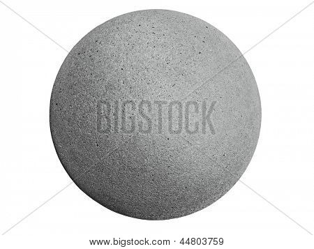 closeup of a concrete sphere isolated on white with clipping path