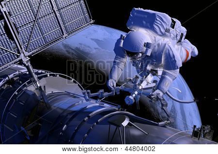 "The astronaut  in outer space, ""Elements of this image furnished by NASA"""