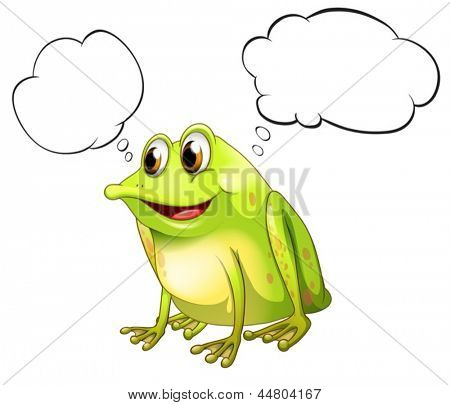 Illustration of a green bullfrog with empty callouts on a white background