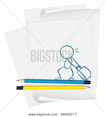 Illustration of a paper with a sketch of a boy pulling a bag on a white background