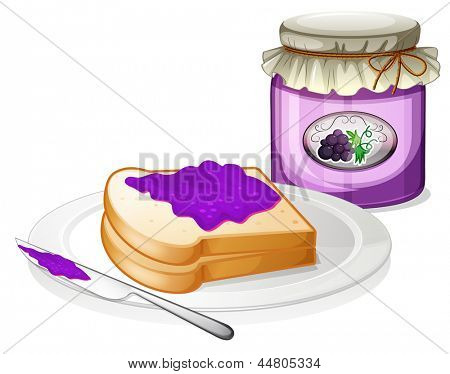 Illustration of a grape jam with a sandwich at the plate  on a white background