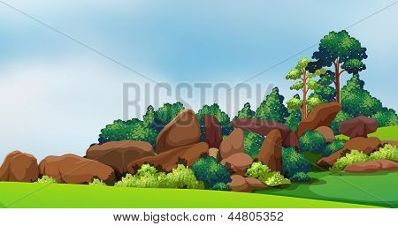 Illustration of a forest with big rocks