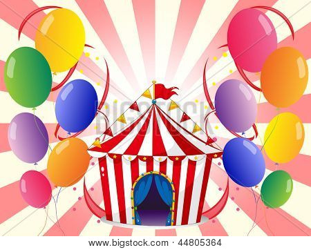 Illustration of a red circus tent with balloons