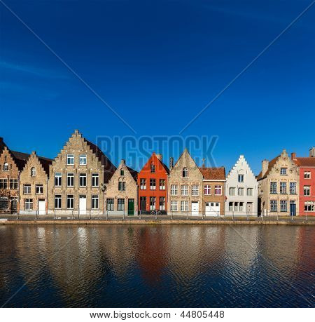 Typical European Europe cityscape view -  canal and medieval houses. Bruges (Brugge), Belgium
