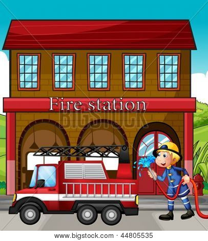 Illustration of a fireman and a fire truck in front of the fire station