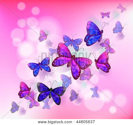 Illustration of a pink stationery with a group of butterflies