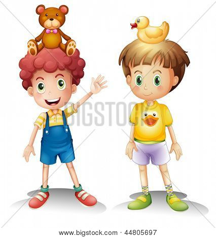 Illustration of the two boys with their toys above their heads on a white background