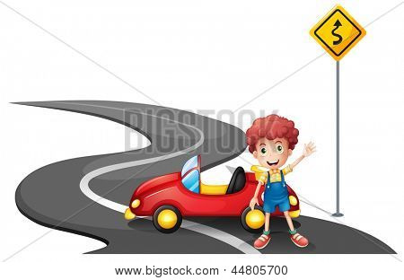 Illustration of a young boy near a yellow signage with his car on a white background