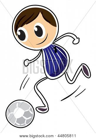 Illustration of a sketch of a boy playing soccer on a white background