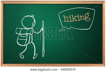 Illustration of a board with a sketch of a person hiking on a white background