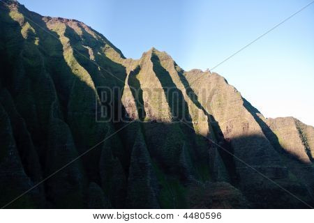 Wrinkled Cliff Face On Na Pali Coast In Kauai