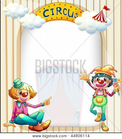 Illustration of a circus entrance with a male and a female clown
