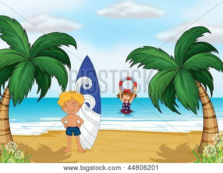 Illustration of the kids enjoying summer at the beach