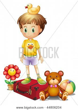 Illustration of a boy above the red box with his different toys on a white background