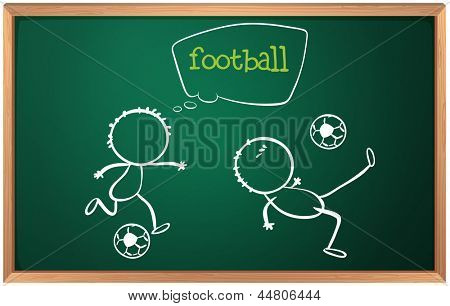 Illustration of a board with football players on a white background