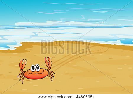 Illustration of a crab crawling at the seashore