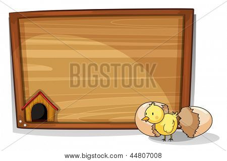 Illustration of a hatched egg near an empty board on a white background