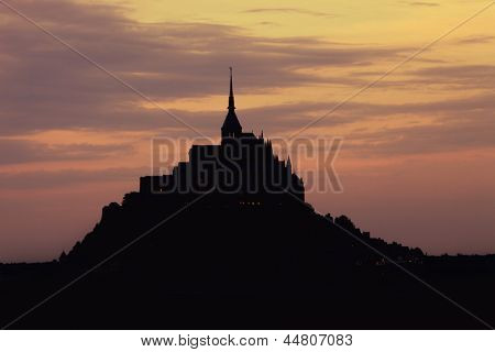 mount saint michel at sunset, brittany, france