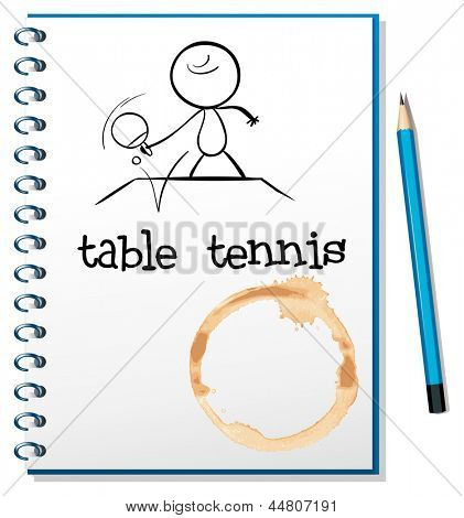 Illustrtaion of a notebook with a sketch of a person playing table tennis on a white background