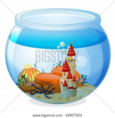 Illustration of an aquarium with a palace on a white background