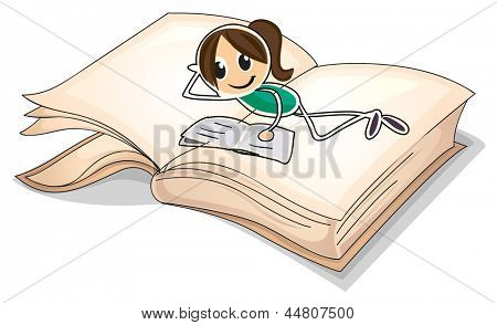 Illustration of a big book with a young girl reading on a white background