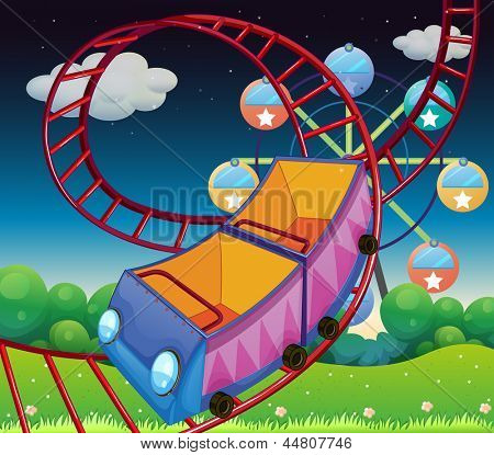 Illustration of a roller coaster ride at the carnival