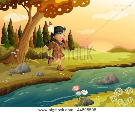 Illustration of an Indian girl along the river