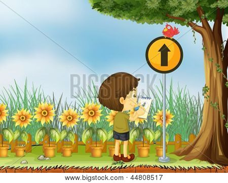 Illustration of a boy trying to draw the bird above the yellow post