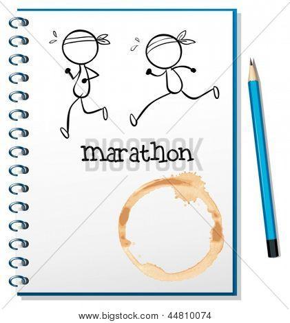 Abbildung eines Notebooks mit zwei Läufer auf dem Deckblatt auf weißem Hintergrund