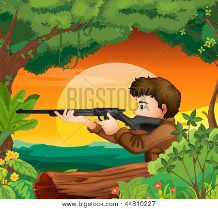Illustration of a man with a gun at the woods