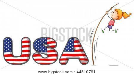 Abbildung der USA Buchstaben mit einem Mädchen über einen Stock auf weißem Hintergrund
