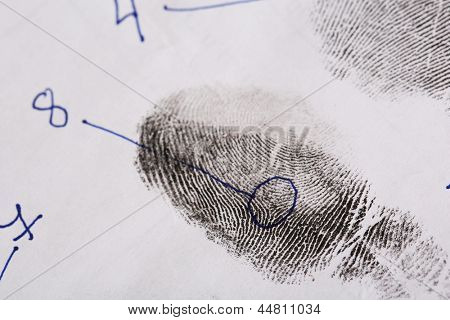 Fingerprints close-up isolated on white