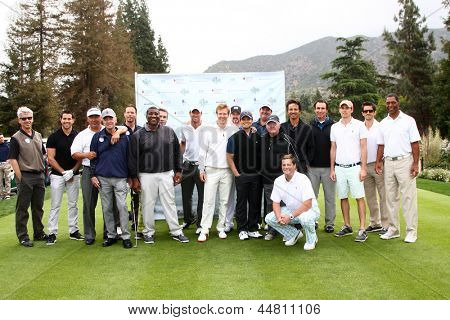 LOS ANGELES - APR 15:  Jack Wagner and Celebrity Golfers at the JJack Wagner Celebrity Golf Tournament  at the Lakeside Golf Club on April 15, 2013 in Toluca Lake, CA