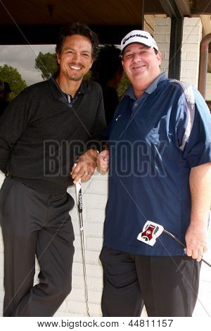 LOS ANGELES - APR 15:  Benjamin Bratt, Brian Baumgartner at the Jack Wagner Celebrity Golf Tournament  at the Lakeside Golf Club on April 15, 2013 in Toluca Lake, CA